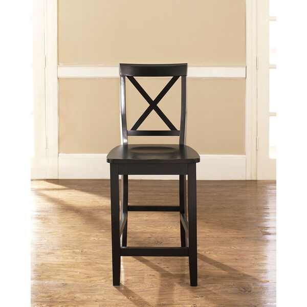 X-Back Bar Stool in Black Finish with 24 Inch Seat Height- Set of Two, image 4