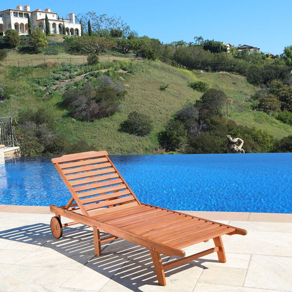 Single Outdoor Wood Chaise Lounge, image 2