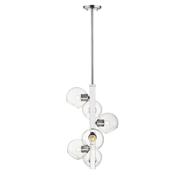 Marquee Chrome Six-Light Pendant with Clear Glass, image 4