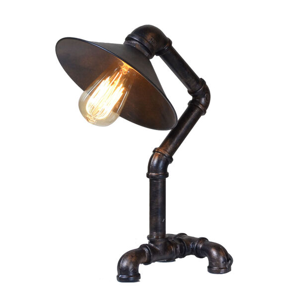 Element Powder Coated Black Pipe Table Lamp, image 1