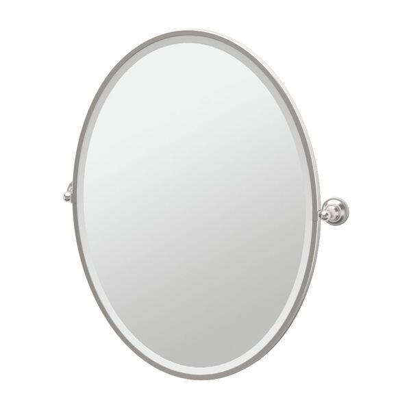 Tiara Satin Nickel Framed Large Oval Mirror, image 1
