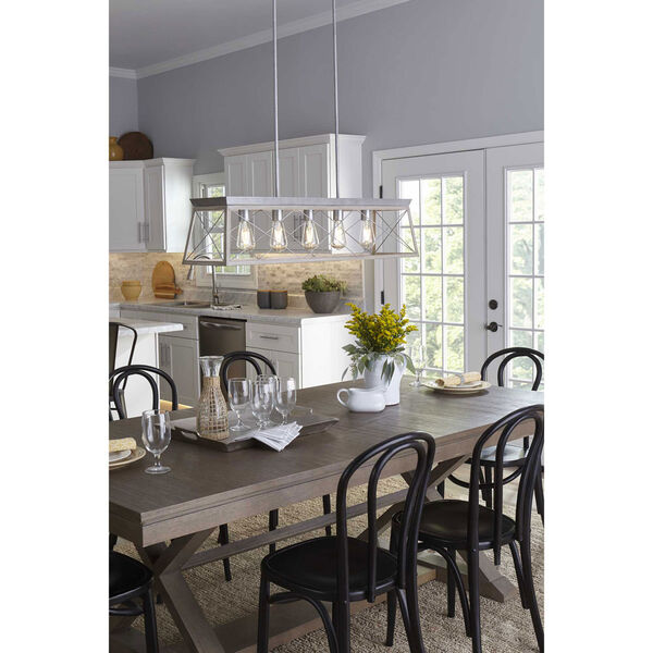 Briarwood Galvanized and Bleached Oak Five-Light Linear Island Chandelier, image 2