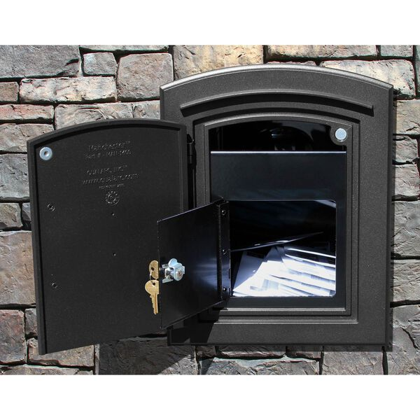 Manchester Black Security Option with Decorative Scroll Door Manchester Faceplate - (Open Box), image 3