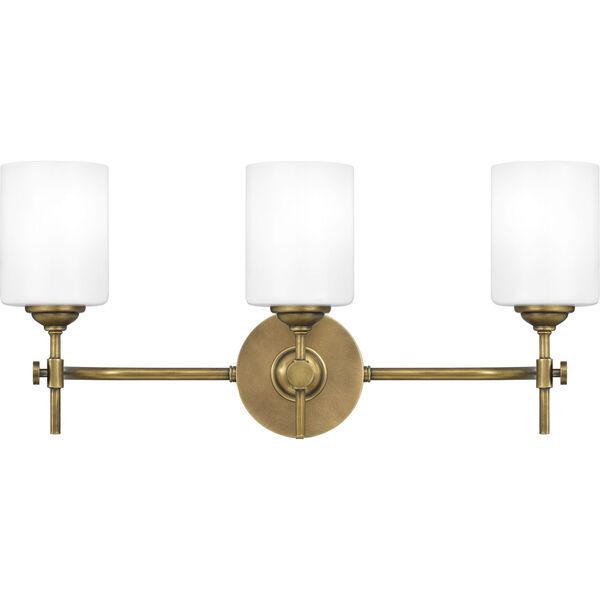 Aria Weathered Brass Three-Light Bath Vanity with Opal Glass, image 1