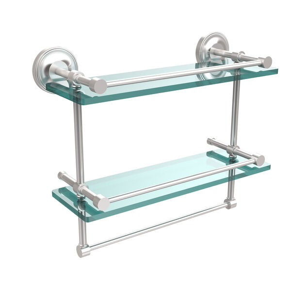 16 Inch Gallery Double Glass Shelf with Towel Bar, Satin Chrome, image 1
