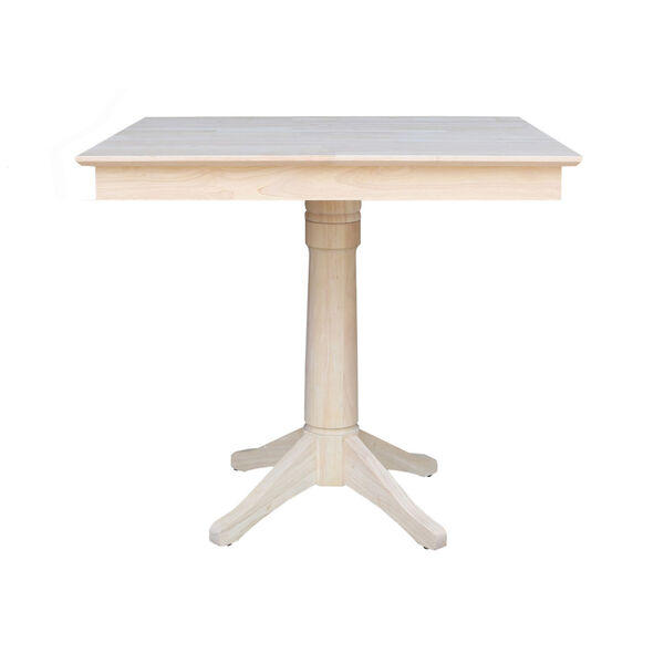 Wood 36-Inch Square Top Pedestal Table with Four Counter Height Stool, Set of Five, image 2