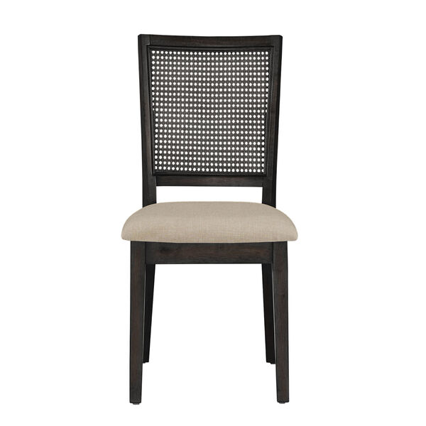 Caroline Beige and Black Rattan Back Dining Chair, Set of Two, image 2