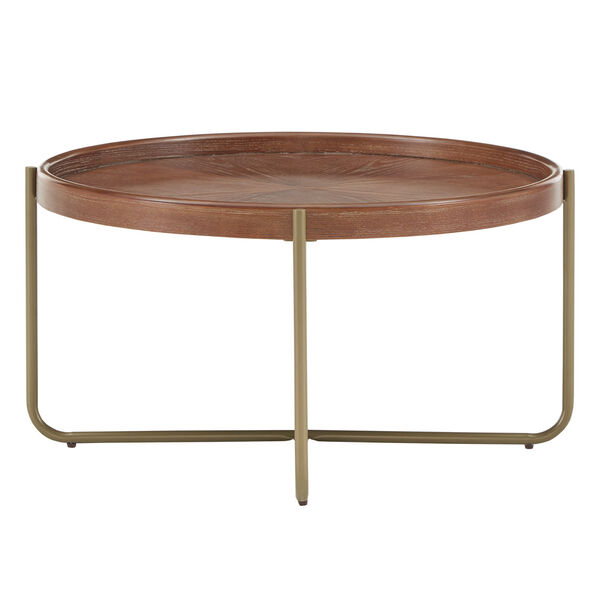Adam Gold and Wood Coffee Table, image 3