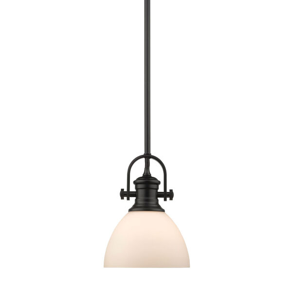 Hines Black 7-Inch One-Light Mini Pendant with Opal Glass, image 1