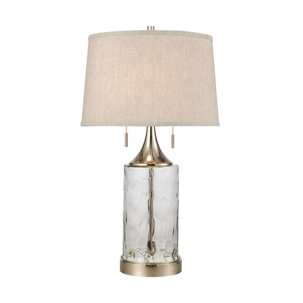 Tribeca Clear Polished Nickel Two-Light Table Lamp, image 1