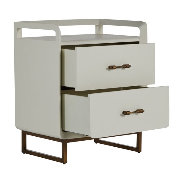 Quentin Faux White and Brushed Gold Nightstand, image 2