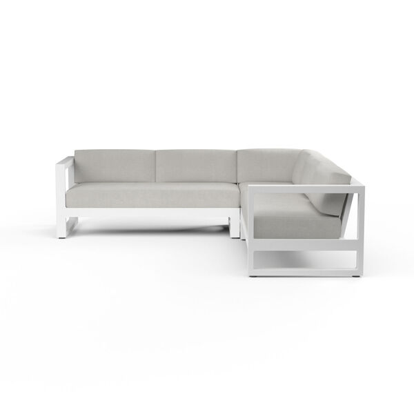Newport Frost Powdercoat Sectional Sofa with Cast Silver Cushion, image 2