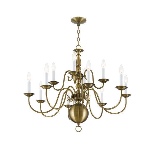 Williamsburgh Antique Brass 12 Light Chandelier, image 5
