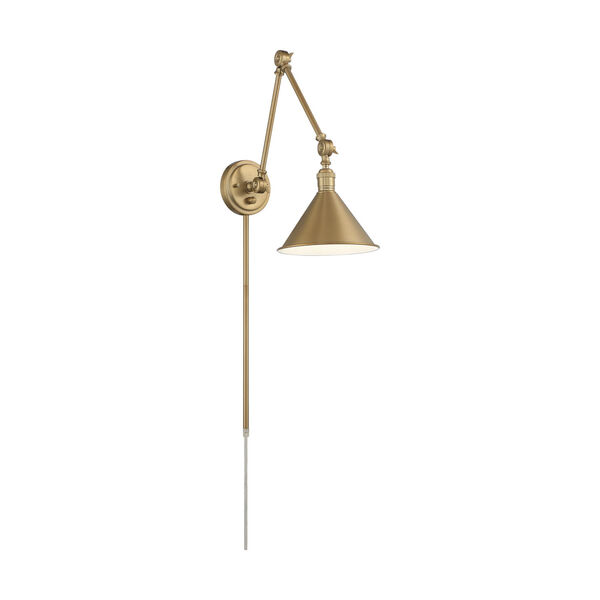 Delancey Brass Polished One-Light Adjustable Swing Arm Wall Sconce, image 1