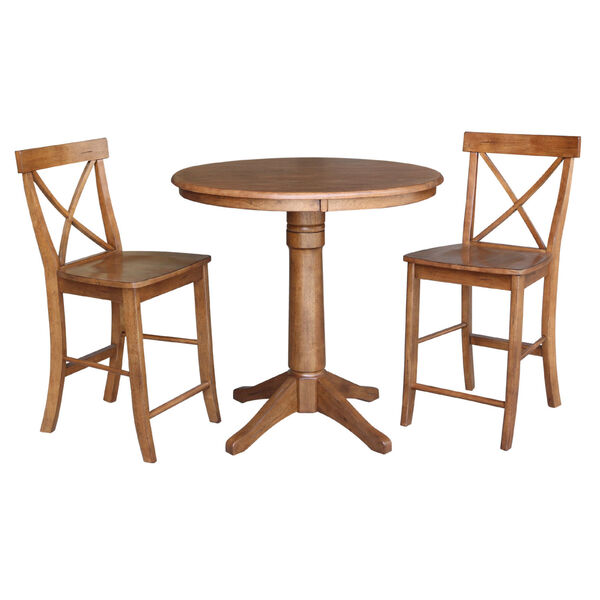 Distressed Oak 36-Inch Round Pedestal Gathering Table with Two X-Back Counter Height Stool, Set of Three, image 2