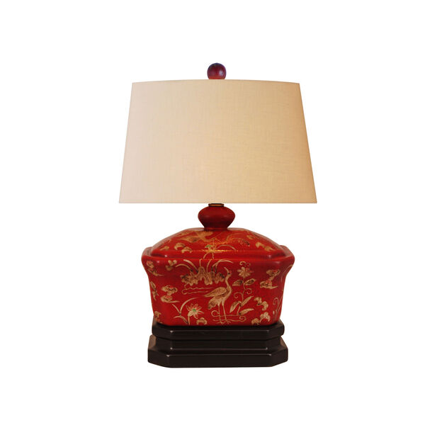 Lacquer Ware One-Light Red Box Lamp, image 1