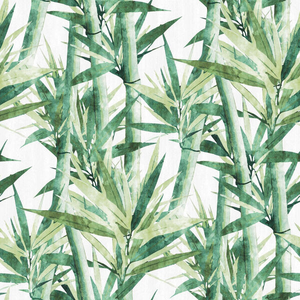Lucky Bamboo Green And White Peel and Stick Wallpaper, image 1