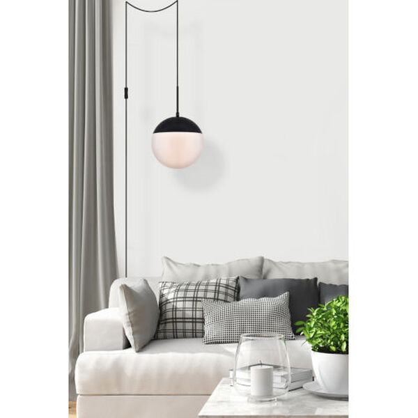 Eclipse Black and Frosted White 10-Inch One-Light Plug-In Pendant, image 6