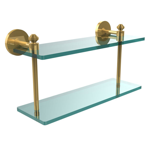 Southbeach Collection 16 Inch Two Tiered Glass Shelf, Polished Brass, image 1