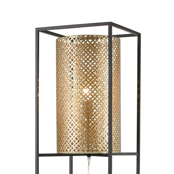 Gavia Antique Gold and Black One-Light Floor Lamp, image 3
