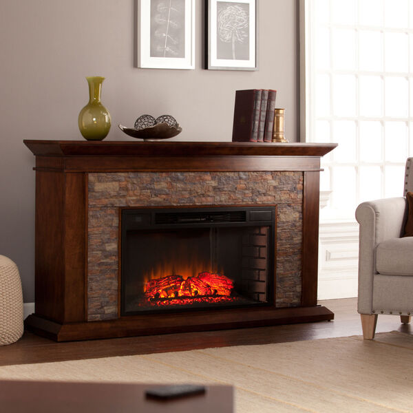 Canyon Whickey Maple Simulated Stone Electric Fireplace, image 3