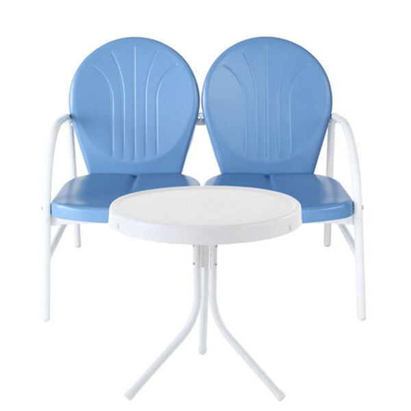 Griffith Two Piece Metal Outdoor Conversation Seating Set: Loveseat and Table in Sky Blue Finish, image 1