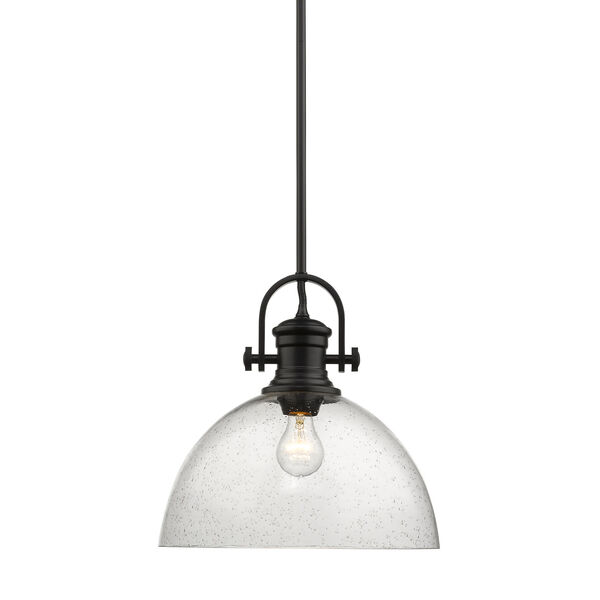 Hines Black 14-Inch One-Light Pendant with Seeded Glass, image 1
