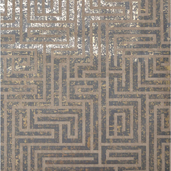 Mid Century Charcoal Metallic Wallpaper, image 1