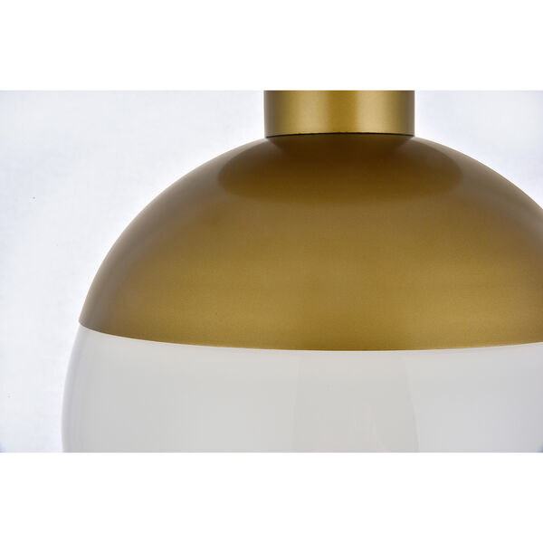 Eclipse Brass and Frosted White 12-Inch One-Light Semi-Flush Mount, image 4