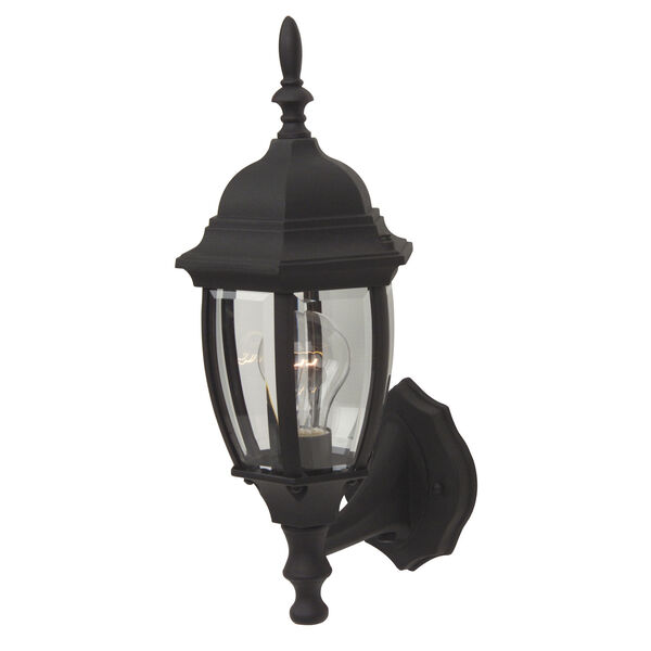 Bent Glass Matte Black Outdoor Wall Mount with Photocell, image 1