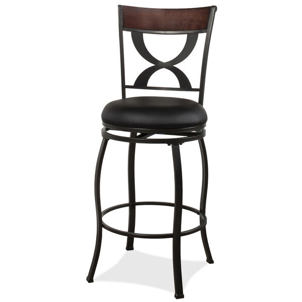 Stockport Pewter Finished Metal and Brown Counter Height Stool, image 1
