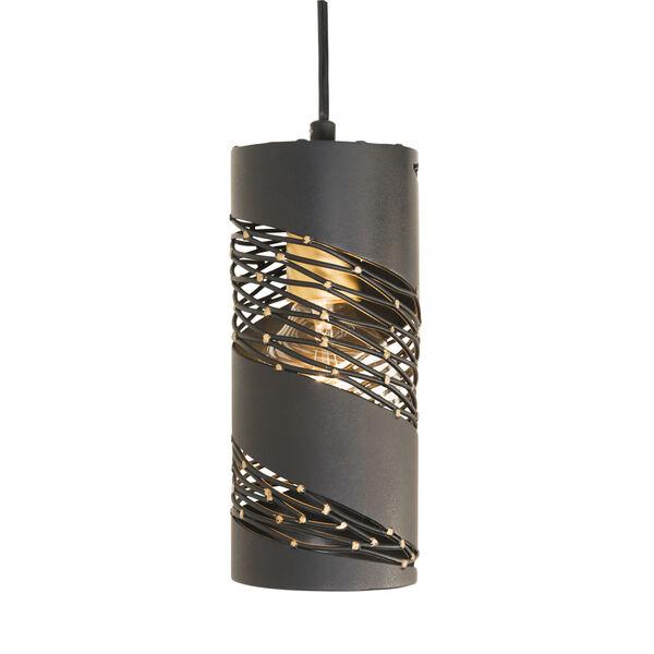 Flow Matte Black French Gold One-Light Mini Pendant, image 1