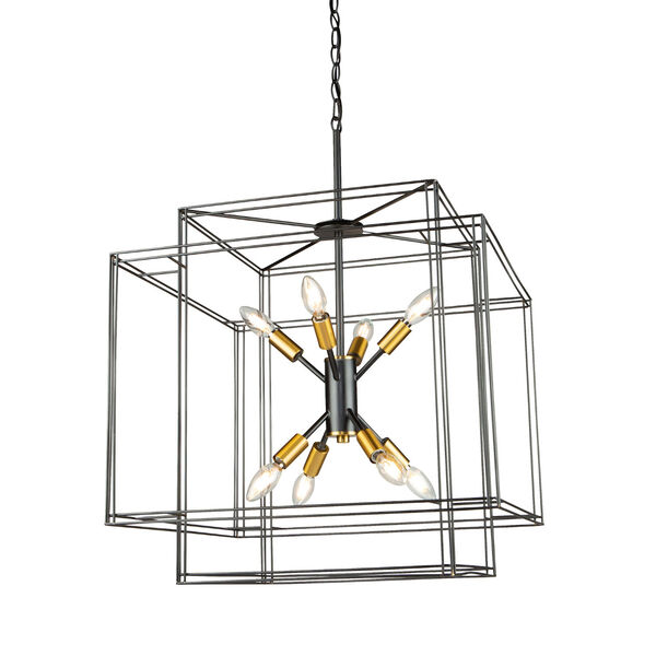 Artisan Black and Brushed Brass Eight-Light Pendant, image 3