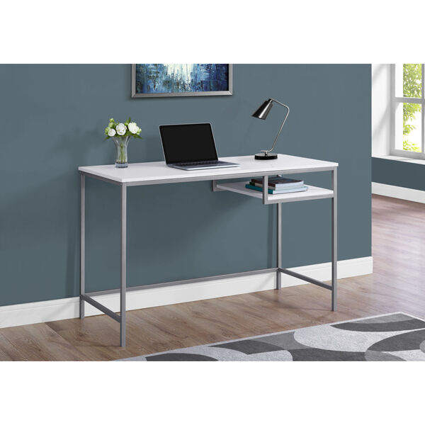 White and Silver 22-Inch Computer Desk with Open Shelf, image 2