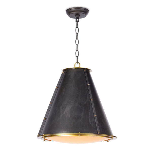 French Maid Blackened Brass One-Light Chandelier, image 1