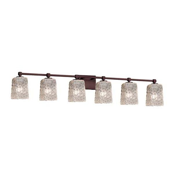 Veneto Luce - Tetra Matte Black Six-Light LED Bath Bar with Square Rippled Rim Clear Textured Shade, image 1