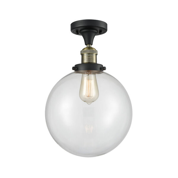 Franklin Restoration Black Antique Brass 13-Inch One-Light Semi-Flush Mount with Clear Beacon Shade, image 1