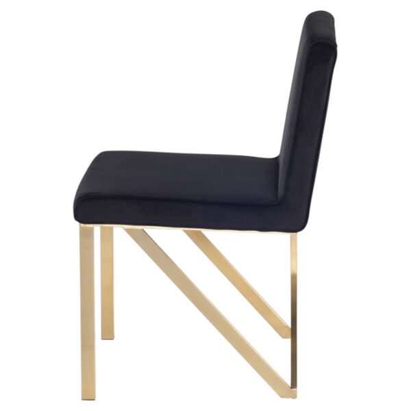 Talbot Black and Brushed Gold Dining Chair, image 3