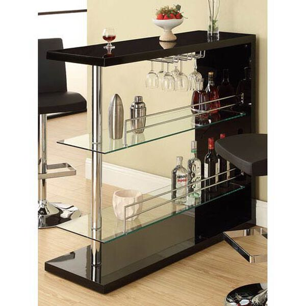 Black Rectangular Bar Unit with Two Shelves and Wine Holder, image 1