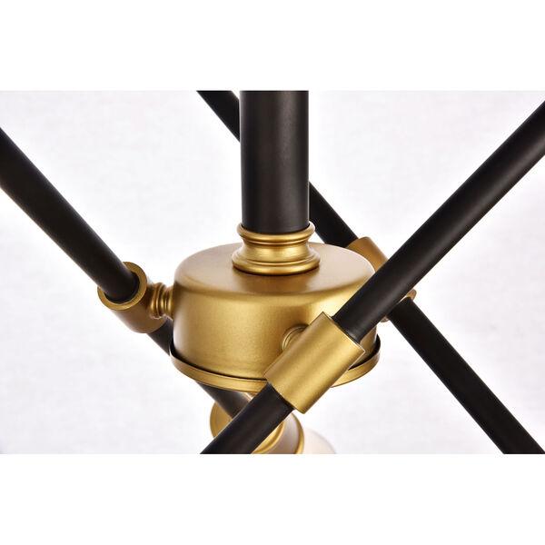 Axel Black and Brass 17-Inch Six-Light Semi-Flush Mount, image 4