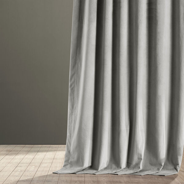 Signature Silver Grey Blackout Velvet Pole Pocket Single Panel Curtain, 50 X 108, image 6