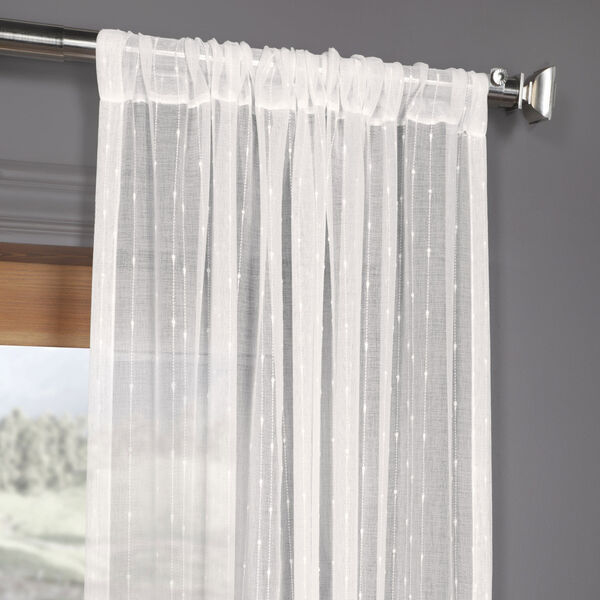 White Striped Faux Linen Sheer 108 x 50 In. Curtain Single Panel, image 3
