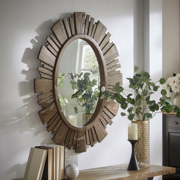 Brigid Reclaimed Wood Oval Sunburst Wall Mirror, image 1