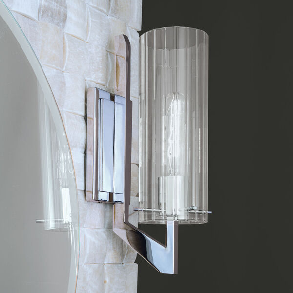 Faceted Chrome One-Light Wall Sconce, image 1