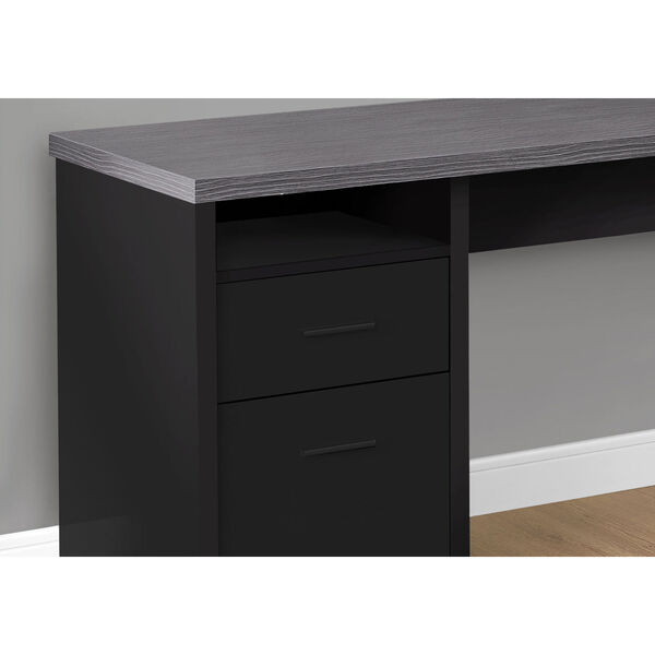 Black and Gray 47-Inch Computer Desk with Side Drawers, image 3