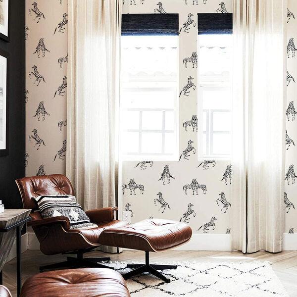 Novogratz White Zebras in Love Waverly Peel and Stick Wallpaper, image 3