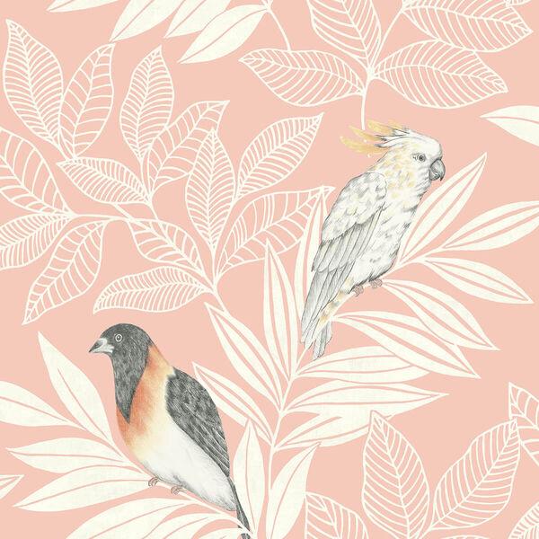 Boho Rhapsody Pink Sunset and Ivory Paradise Island Birds Unpasted Wallpaper, image 2