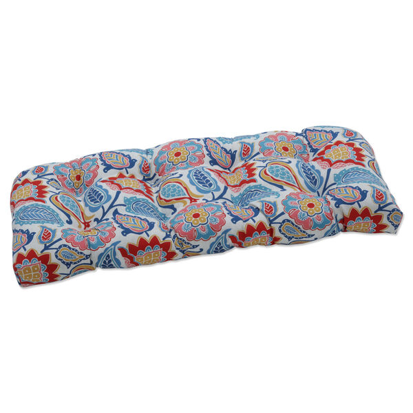 Moroccan Blue Red Yellow Loveseat Cushion, image 1