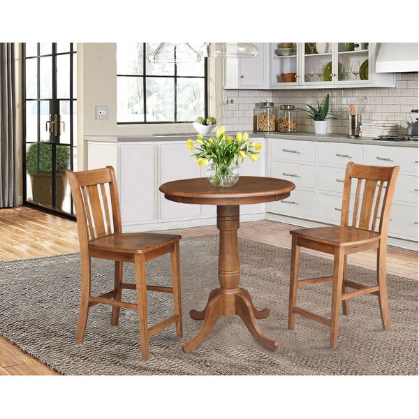 San Remo Distressed Oak 30-Inch Round Top Pedestal Gathering Table with Two Counter Height Stool, Set of Three, image 1