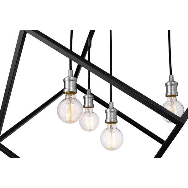 Vertical Matte Black and Brushed Nickel 34-Inch Four-Light Pendant, image 6
